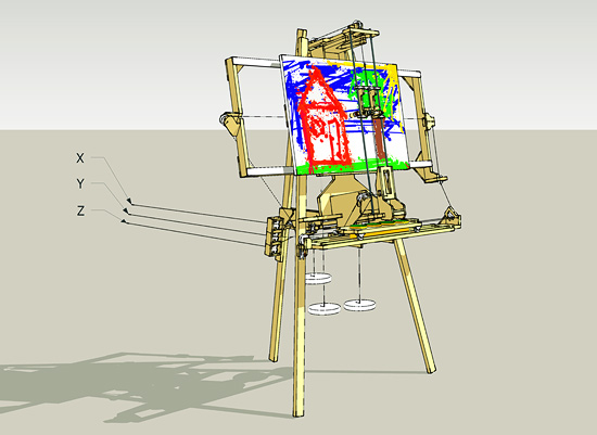 Sketchup construction drawings of the painting machine