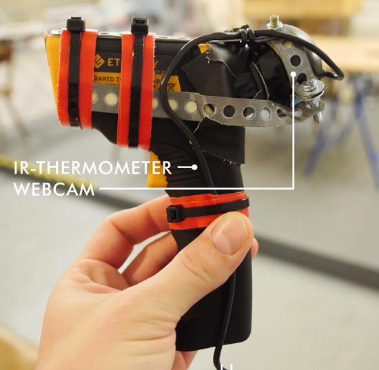 IR thermometer with webcam attached